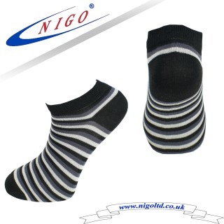 Bamboo sneakers striped socks, Reinforce Heel and Toe, Pack of one pair (Striped)