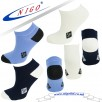 Bamboo sneakers NO stress! socks, Reinforce Heel and Toe, Pack of three pairs (ivory/gray/ ivory blue heel)