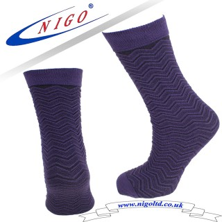 Bamboo embossed knee high, no heel, fashion and luxury socks, Pack of one pair (dark purple)