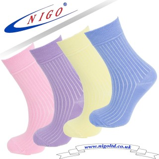 Bamboo ribbed socks, Reinforce Heel and Toe, Pack of two pairs (pink, lilac), (yellow, blue)