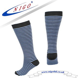 Bamboo stripe knee high socks, Reinforce Heel and Toe, Pack of one pair (Striped)
