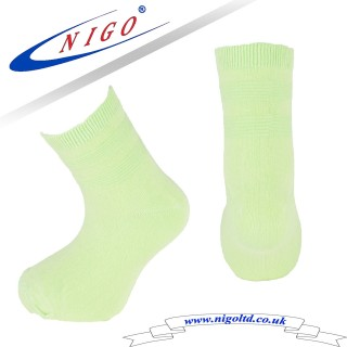 Bamboo children socks, Reinforce Heel and Toe, Pack of one pairs (neon green)