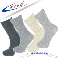 WOMEN'S - Cotton socks, Reinforced and reciprocated heel and toe, Pack of one pairs (Anthracite, Gray)