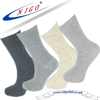 MEN'S - Cotton socks, Reinforced and reciprocated heel and toe, Pack of one pairs (Anthracite, Beige, Gray)