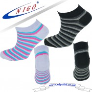 WOMEN'S - cotton multicolored striped sneakers socks, Reinforce Heel and Toe, Pack of two pairs (multicolored striped)