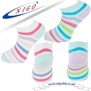 Women`s - cotton multicolored striped sneakers socks, Reinforce Heel and Toe, Pack of two pairs (multicolored striped)