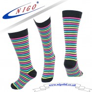 Women's - KNEE HIGH MULTICOLORED STRIPE SOCKS, Reinforce Heel and Toe, Pack of one pairs (striped)