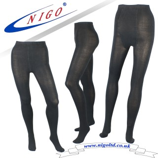 Luxury knitted tights 100 denier appearance, Pack of one pair (black, navy, brown, lilac, blue)